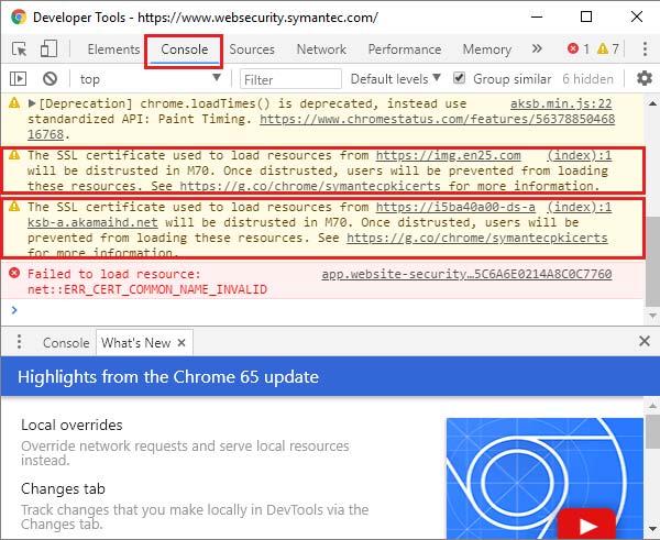 Message d'avertissement dans la console de Google Chrome